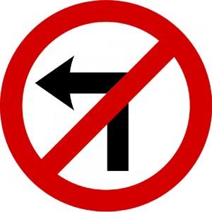 No left turn - Irish road sign