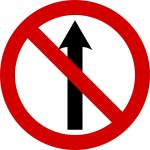 No straight ahead - Irish road sign