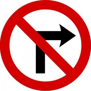 No right turn - Irish road sign